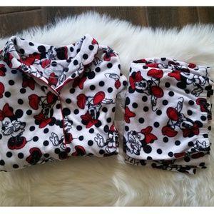 B2G1 Disney Minnie Mouse Fuzzy Polka Dot PJ Set